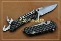 三刃木新款-格纹带勾刀开瓶破窗线锁多用刀7056LUI