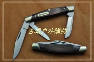 关铸GANZO G725-M 三开木柄EDC口袋刀