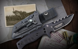 正品汉道虎鲨战术刀D2钢K鞘黑钛生存刀