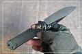 LAND新款三刃木9107黑色沧桑石洗轴承快开折刀送7001sz